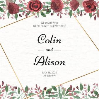 Elegante bloemenhuwelijksuitnodiging in waterverf