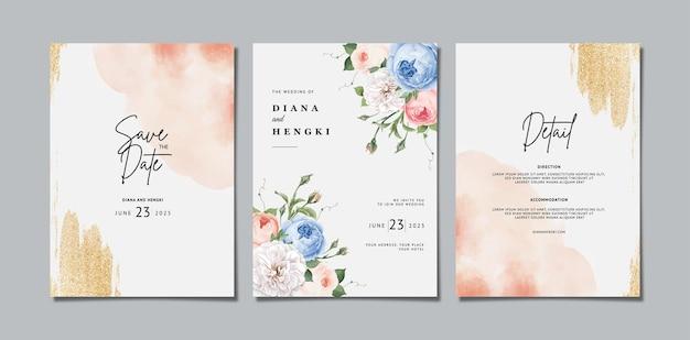 Elegante bloemenhuwelijksuitnodiging met waterverf
