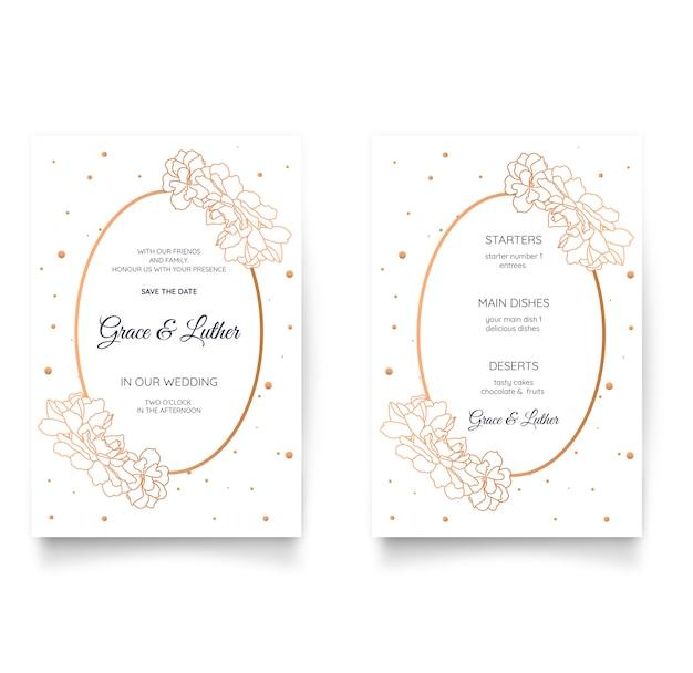 Elegante bloemenhuwelijksuitnodiging