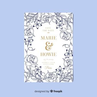 Elegante bloemenhuwelijksuitnodigingskaart