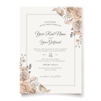 Elegante bloemenhuwelijksuitnodigingssjabloon