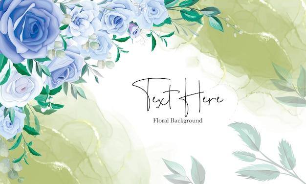 Elegante bloemenkaderachtergrond met blauw bloemornament