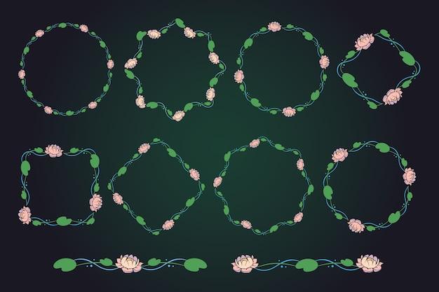 Elegante bloemenkaders en randen
