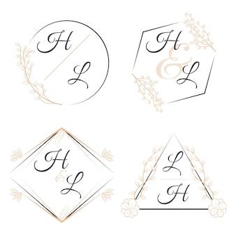 Elegante bloemenmonogrammen voor huwelijken