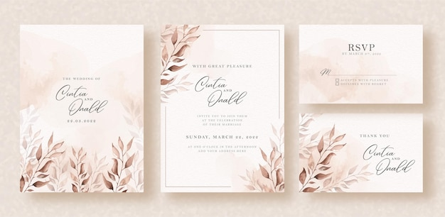Elegante bloemenwaterverf op de achtergrond van de huwelijksuitnodiging