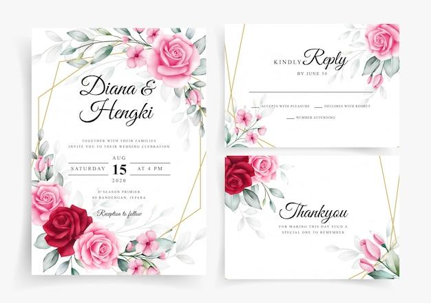 Elegante bloemenwaterverf op de sjabloon van de huwelijksuitnodiging