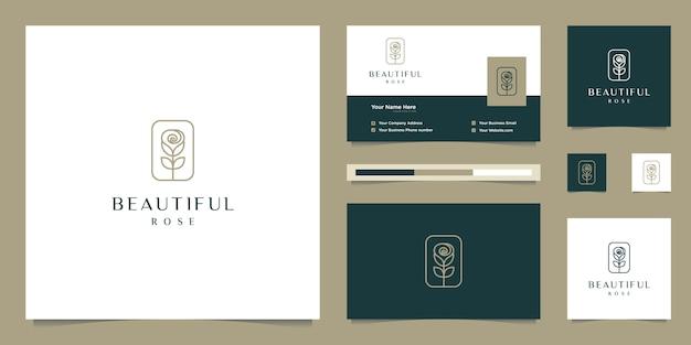 Elegante bloemroos schoonheid, yoga en spa. logo-ontwerp en visitekaartje