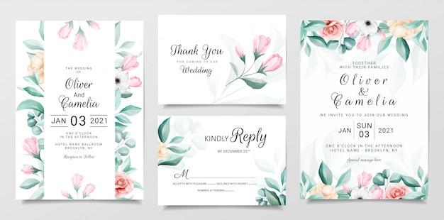 Elegante botanische bruiloft uitnodiging kaartsjabloon ingesteld met kleurrijke aquarel bloemen