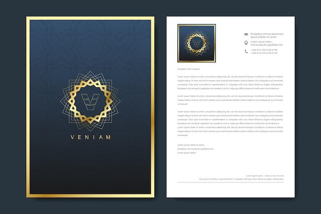 Elegante briefhoofdsjabloon in minimalistische stijl met logo.