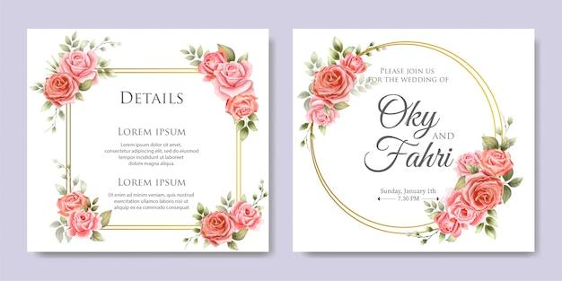 Elegante bruiloft bloemenuitnodiging