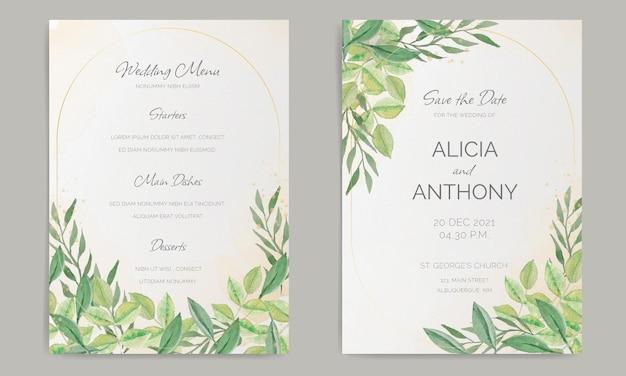 Elegante bruiloft briefpapier met aquarel decoratie Gratis Vector