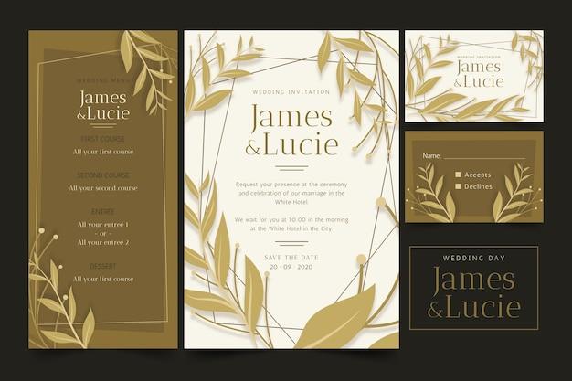Elegante bruiloft briefpapier met bladeren