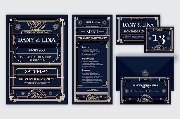 Elegante bruiloft briefpapier set