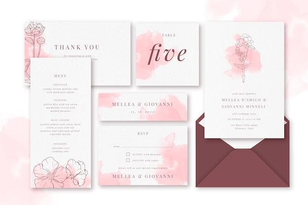 Elegante bruiloft briefpapier sjabloon