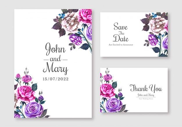Elegante bruiloft kaart decorontwerp sjabloon