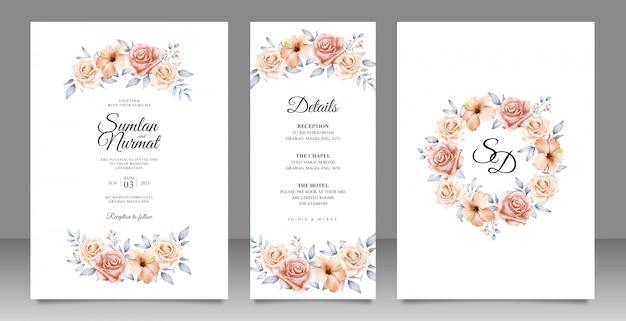 Elegante bruiloft kaart ingesteld sjabloon met bloemen en bladeren