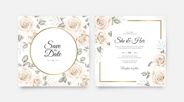 Elegante bruiloft kaart ingesteld sjabloon met prachtige bloemen aquarel