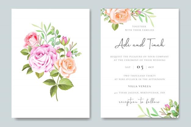 Elegante bruiloft kaart met bloemen en bladeren frame sjabloon