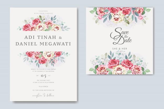 Elegante bruiloft kaart met prachtige bloemen en bladeren sjabloon