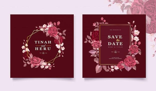 Elegante bruiloft kaartsjabloon ingesteld met kastanjebruine bloemen en bladeren
