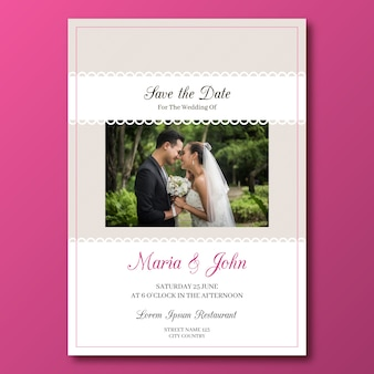 Elegante bruiloft kaartsjabloon met foto