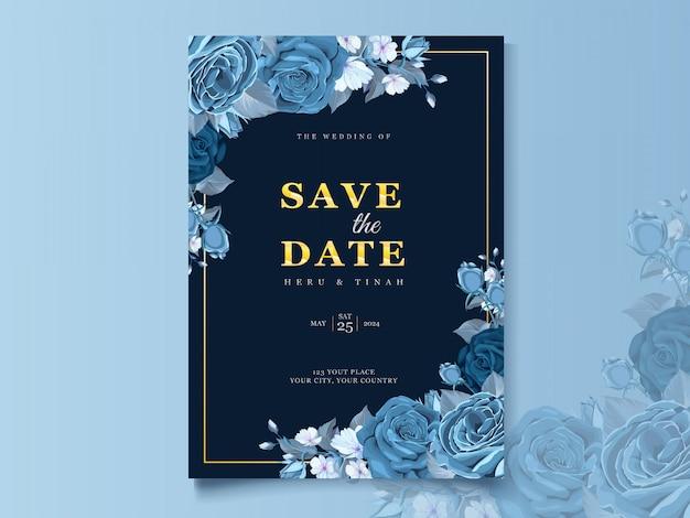 Elegante bruiloft kaartsjabloon met klassieke blauwe bloemen en bladeren