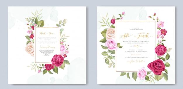 Elegante bruiloft kaartsjabloon met mooie rozen krans