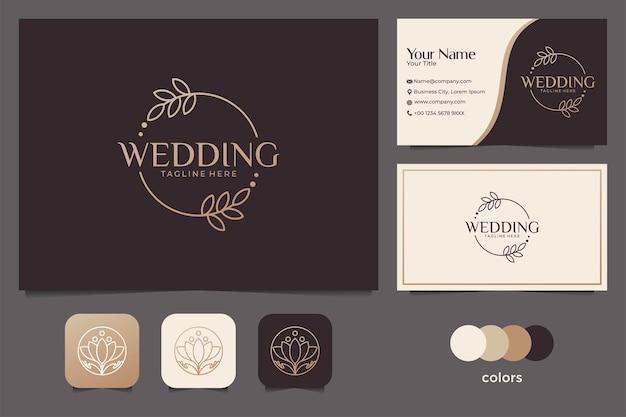Elegante bruiloft met lijntekeningen logo-ontwerp en visitekaartje