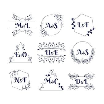 Elegante bruiloft monogram collectie stijl