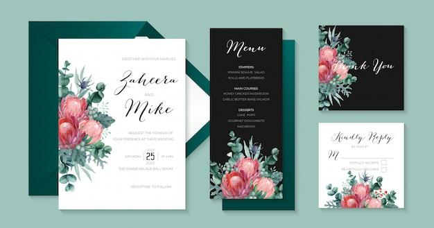 Elegante bruiloft stationaire collectie met protea, eucalyptus, thistle, dusty miller en berries