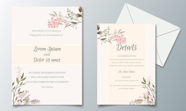 Elegante bruiloft uitnodiging kaart set sjabloon met prachtige bloemen en bladeren