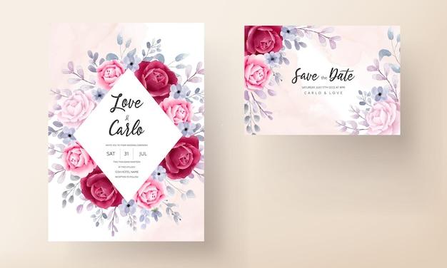 Elegante bruiloft uitnodiging kaartenset aquarel bloem en bladeren