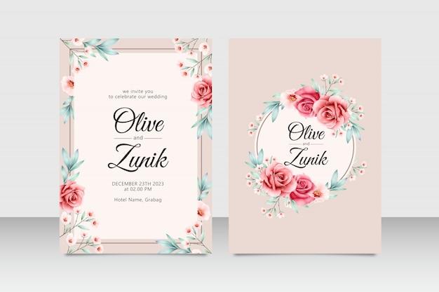 Elegante bruiloft uitnodiging kaartenset sjabloon met bloemen en bladeren aquarel