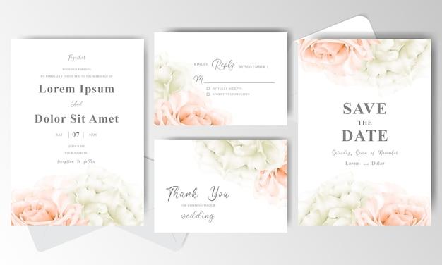 Elegante bruiloft uitnodiging kaartensjabloon
