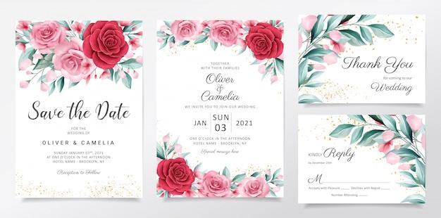 Elegante bruiloft uitnodiging kaartsjabloon ingesteld met aquarel bloemen decoratie