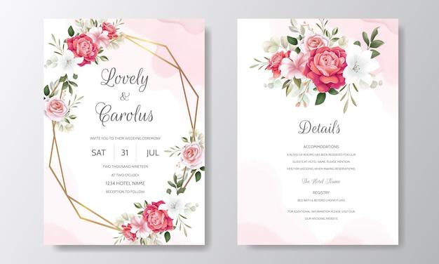 Elegante bruiloft uitnodiging kaartsjabloon ingesteld met florale decoratie