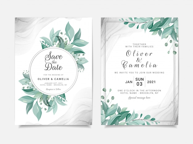 Elegante bruiloft uitnodiging kaartsjabloon ingesteld met florale frame en zilveren vloeiende achtergrond