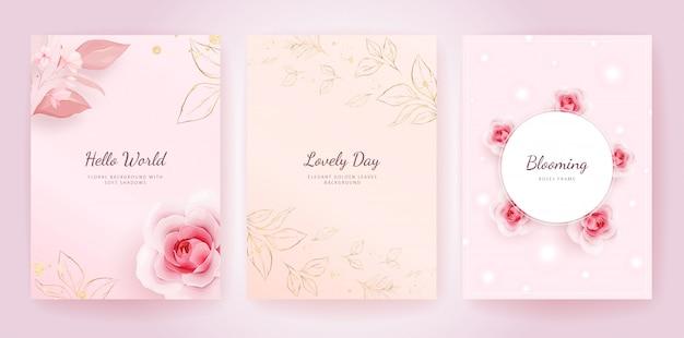 Elegante bruiloft uitnodiging kaartsjabloon ingesteld met perzik rozen en gouden bladeren