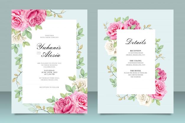 Elegante bruiloft uitnodiging kaartsjabloon met bloemen en bladeren