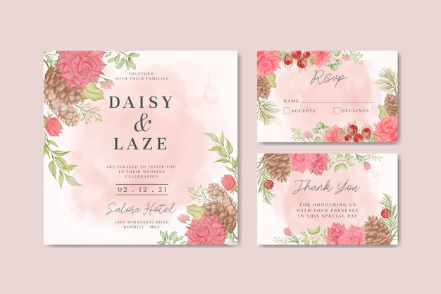 Elegante bruiloft uitnodiging kaartsjabloon met prachtige aquarel bloemen frame
