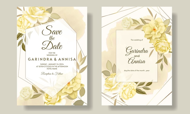 Elegante bruiloft uitnodiging kaartsjabloon met prachtige bloemen en bladeren