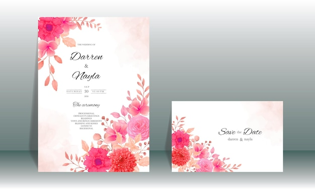 Elegante bruiloft uitnodiging kaartsjabloon ontwerp met bordeauxrode bloem