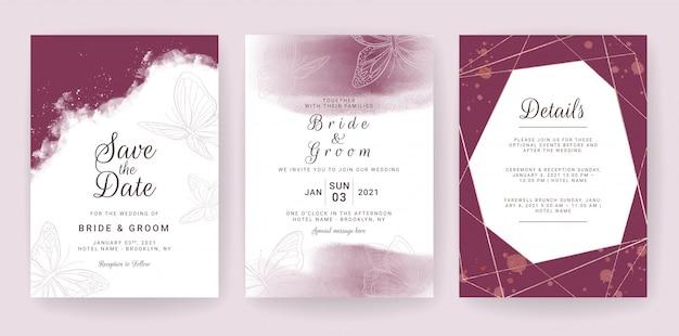 Elegante bruiloft uitnodiging kaartsjabloon set met kastanjebruin en vlinders decoratie.