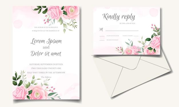 Elegante bruiloft uitnodiging kaartsjabloon set met mooie roze rozen en groene bladeren
