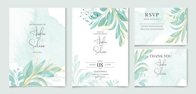 Elegante bruiloft uitnodiging kaartsjabloon set met prachtige bladeren en plons
