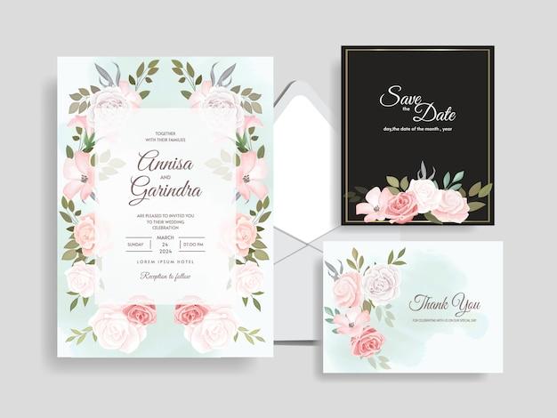 Elegante bruiloft uitnodiging kaartsjabloon set met prachtige bloemen bladeren premium