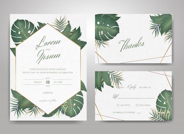 Elegante bruiloft uitnodiging kaartsjabloon set met tropische bladeren en aquarel splash achtergrond