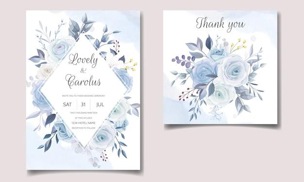 Elegante bruiloft uitnodiging kaartsjabloon set met zachte blauwe bloemen
