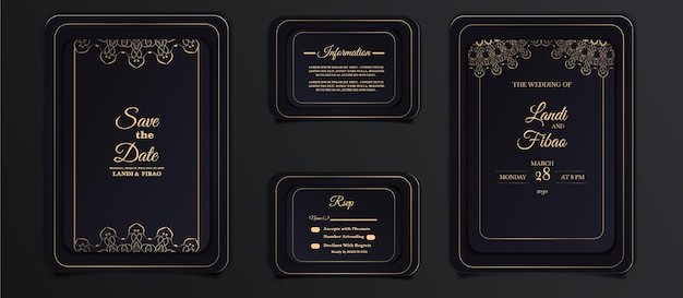 Elegante bruiloft uitnodiging kaartsjabloon set
