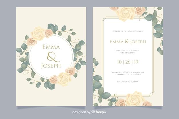 Elegante bruiloft uitnodiging kaartsjabloon